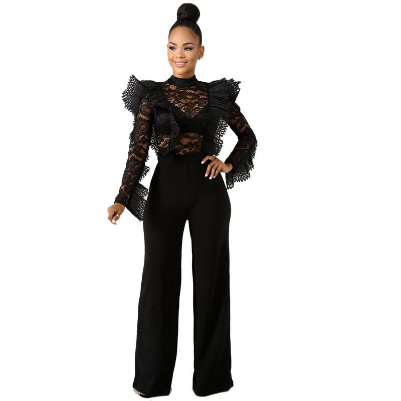 9e4ccfb6e82 Black Lace Jumpsuit Women Sexy Sheer Ruffle Long Sleeve Bodysuit ...