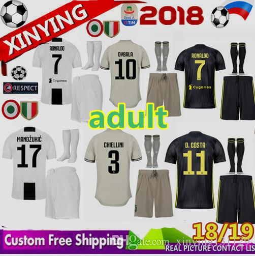 2019 FREE Ship Champions League 2018 Adult RONALDO JUVENTUS Soccer Jersey  Men Kit 18 19 Away Home 3rd DYBALA Costa Mandzukic JUVE Football Shirt From  ... 2b7709a14