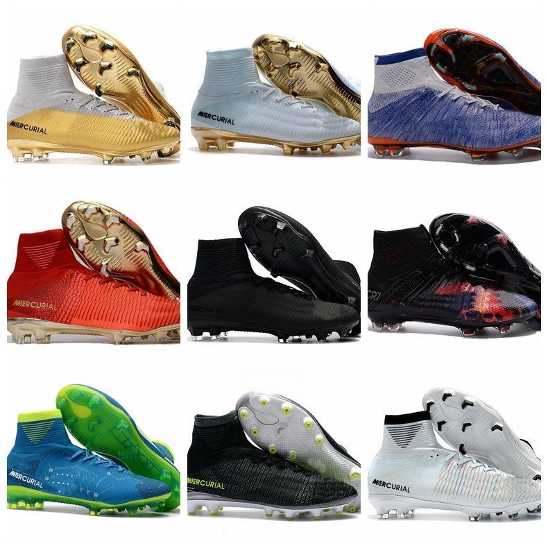 8f8cf33db5e Mens Kids Soccer Shoes Mercurial CR7 High Superfly V FG Boys ...