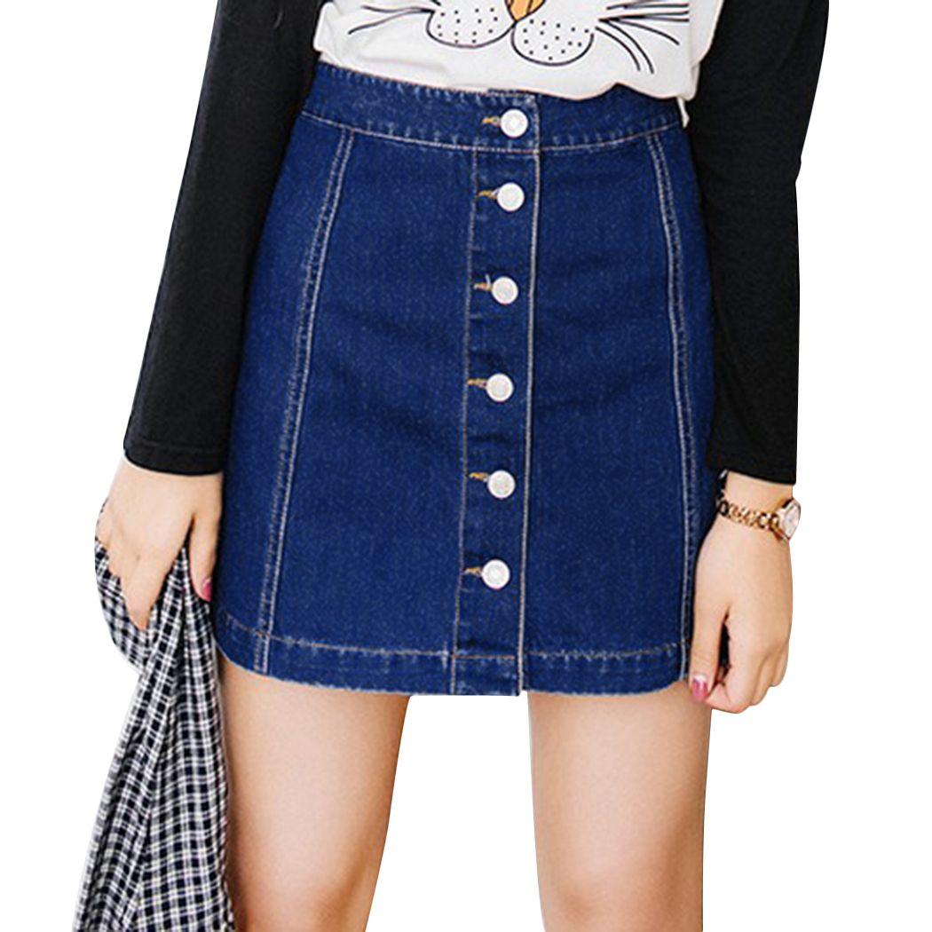 df4b421b8 2018 Moda Vintage Preppy A-Line Faldas de mezclilla Mujeres Botón de  cintura alta Jeans Falda Fmeale Lápiz Faldas Azul Faldas Mujer
