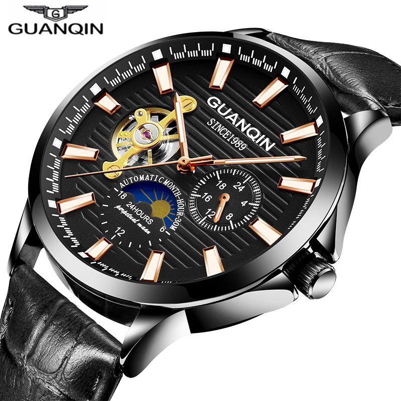 Hombres Relogio Los Esqueleto Fase Oro Luna De Lujo Agua Mecánico Guanqin 2018 Automático Reloj A Cuero Prueba TlJFK1c