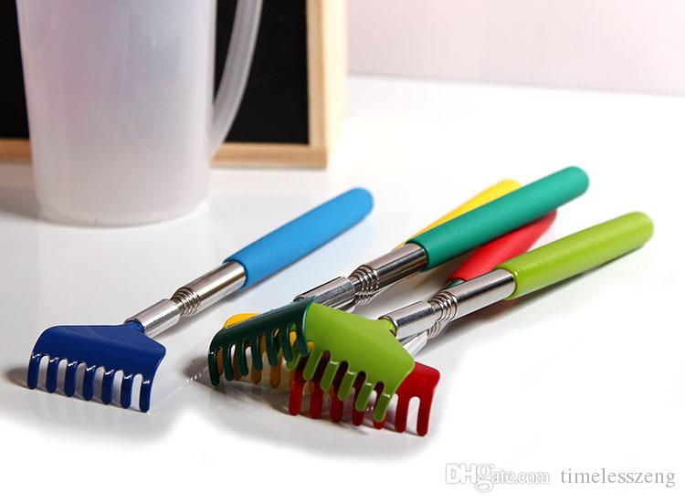 La herramienta para rascar Itch Aid con empuñadura suave, acero inoxidable, posterior, rascador, telescópico, portátil, tamaño ajustable, se puede extender hasta 68 cm