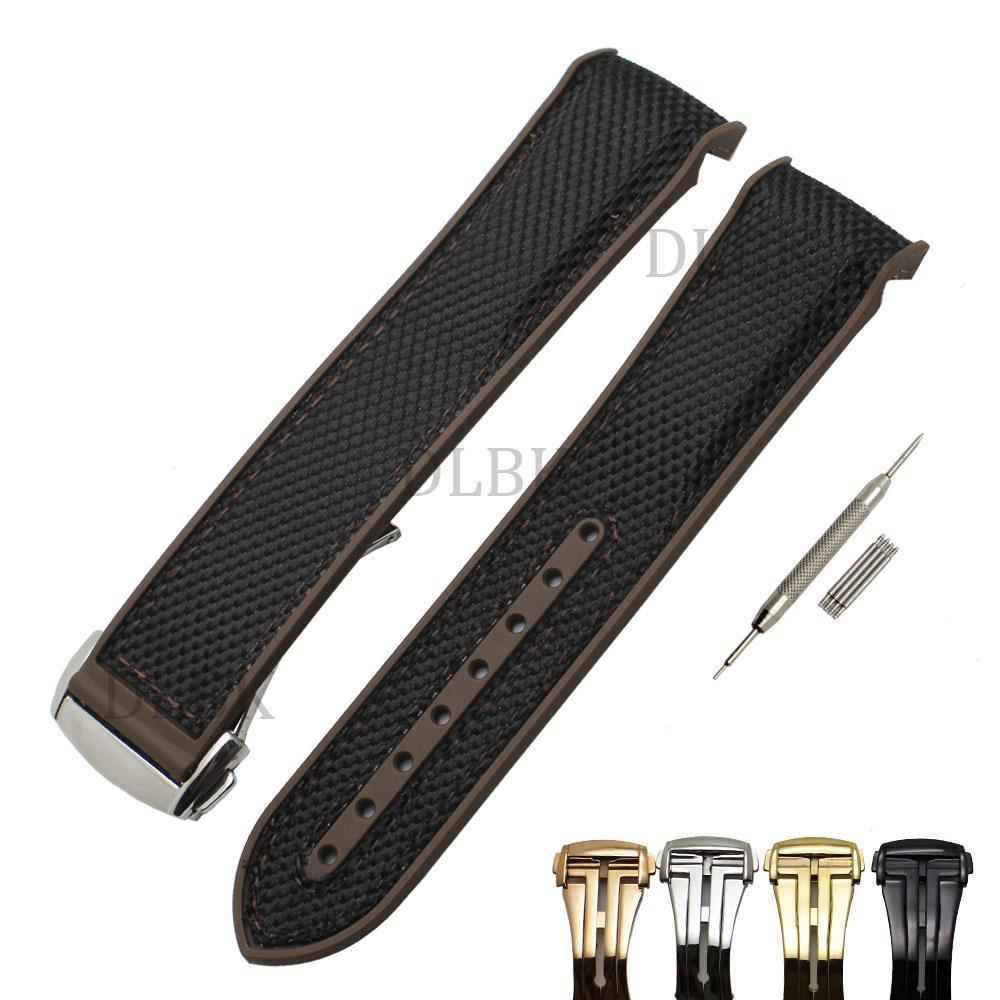 d600d0d6cf6 22mm Men Women Brown Waterproof Diving Silicone Rubber Suture Black  Tarpaulin Watch Band Strap With Stainless Steel Buckle For Omega Wrist Watch  Bands 22mm ...