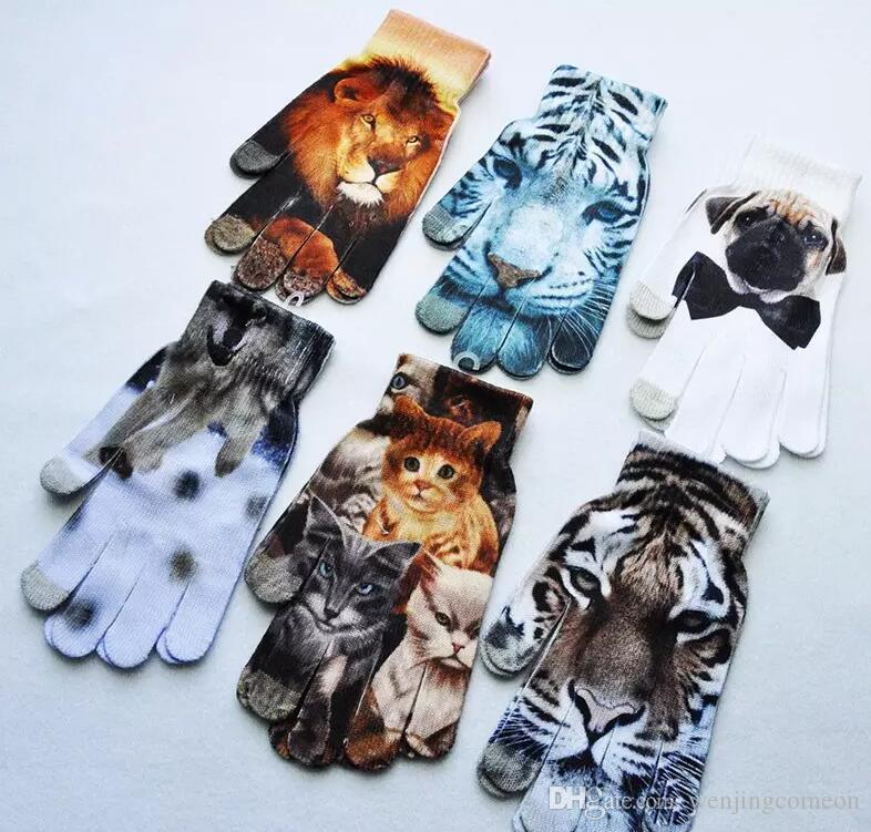 2017 New Winter keep warm Women Men Touch Screen Soft Cat dog fruit cake 3D printing gloves and hot stamping touch gloves