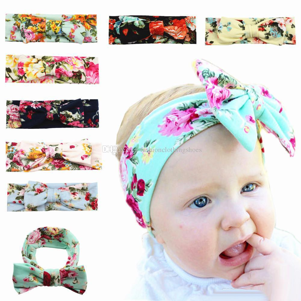 Bambini Hairbows Fasce Beach Bohemia Flower print Hood Blue 2018 Fascia per capelli Baby girl Sweet Knot Archi accessori per capelli all'ingrosso