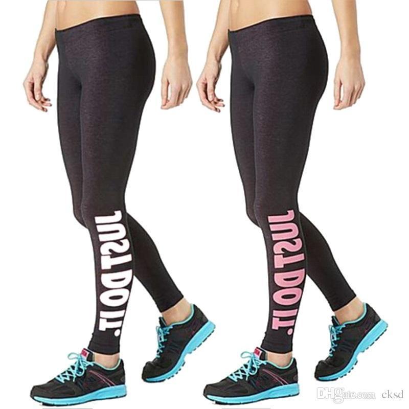 64b5a5d0dbfaa Women Sport Sex Yoga Pants JUST DO IT Print Capris Elastic Tight ...