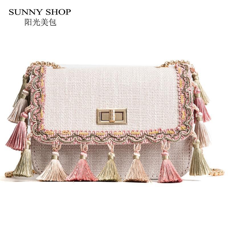 d4522e039d73 SUNNY SHOP Boho Fringe Crossbody Bag High Quality Women Fashion 2018 Mini  Chain Shoulder Bag Canvas National Fashion Summer Mens Bags Messenger Bags  For ...