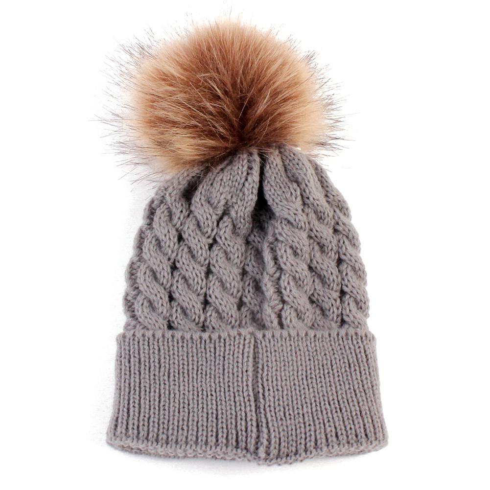 Compre Bebê De Malha Chapéus Quentes Outono Inverno Crochet De Pele De  Chapéu De Lã Pompons Kid Beanie Menino Menina Bonito Pompom Tick Cap Bonnet  Gorro De ... 3893c518017