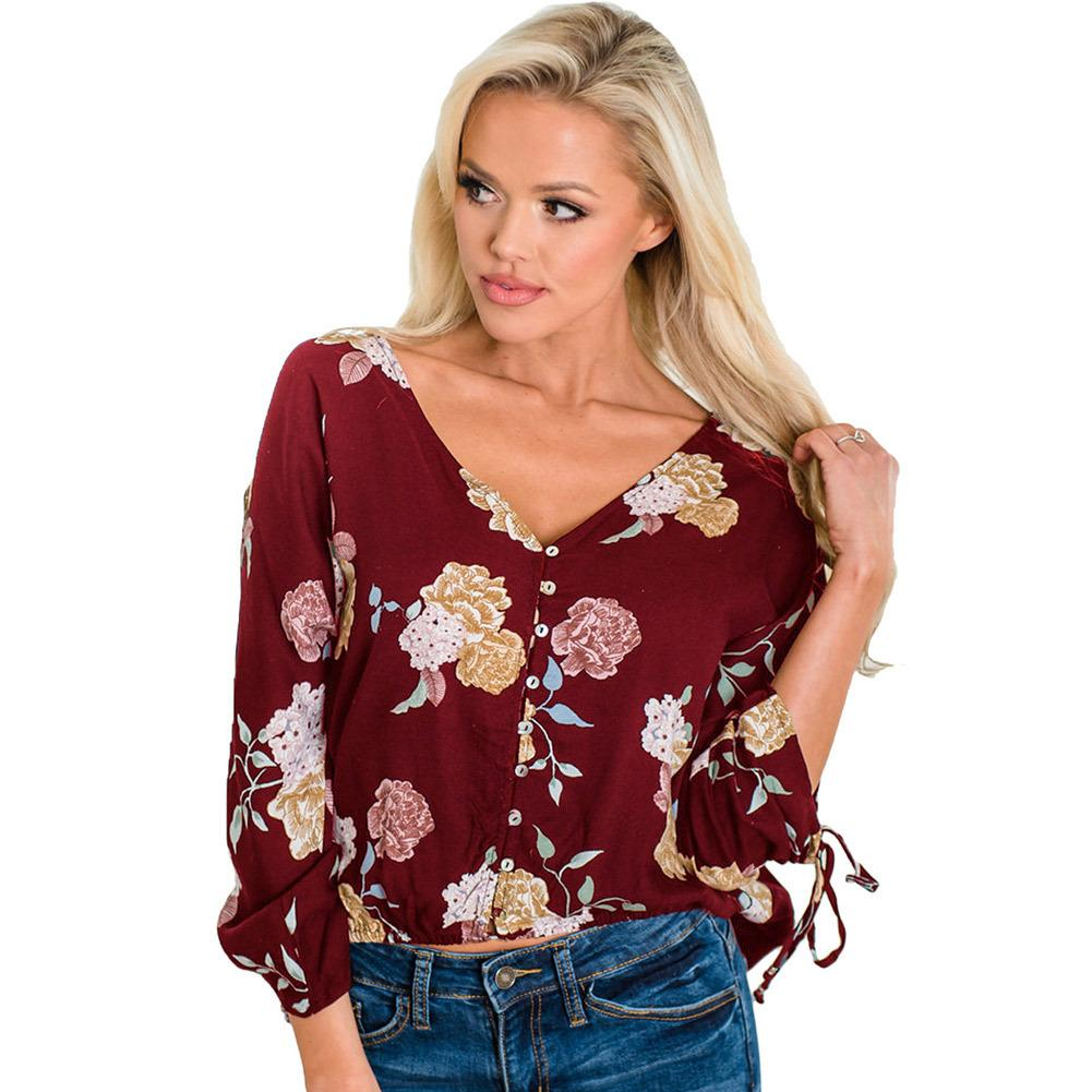 d0e345c9741 UOFOCO Autumn Plus Size Long Sleeve Tshirt Women Casual Short Sleeve Cold  Shoulder Boho Flower Print As T Shirt Online T Shirts Buy From  Youfanweistore