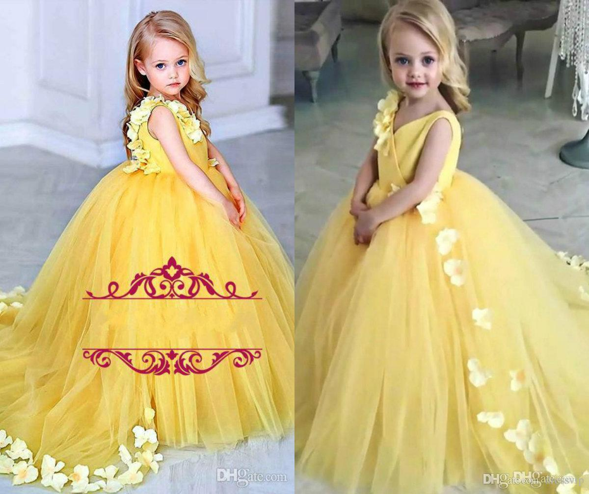 e509b6503f7 Yellow Flower Girls Dresses For Weddings V Neck Satin Tulle Petals Sweep  Train Ball Gown Girls Pageant Dresses Wedding Birthday Party Gowns Girls  Special ...