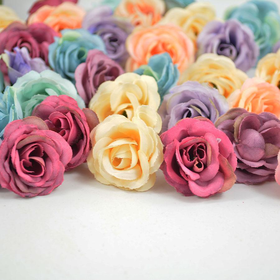 Mix Color High Quality Artificial Silk Flower Head Retro Rose Buds