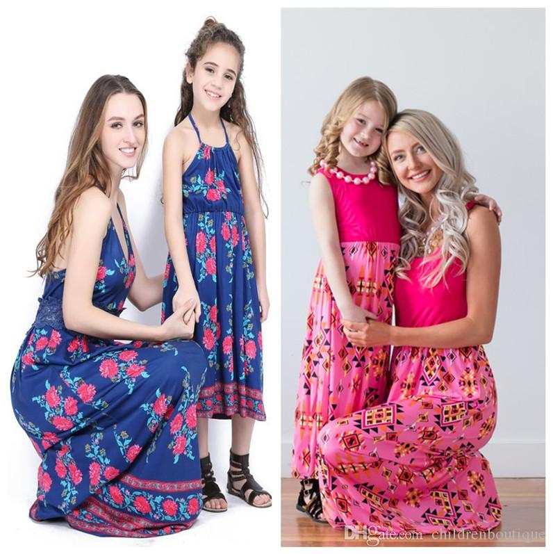 b84f21f5d4366 Mommy And Me Dresses Family Matching Clothes Mother And Daughter Dresses  Family Matching Clothes Kids Girls Parent Patchwork Printed Dresses