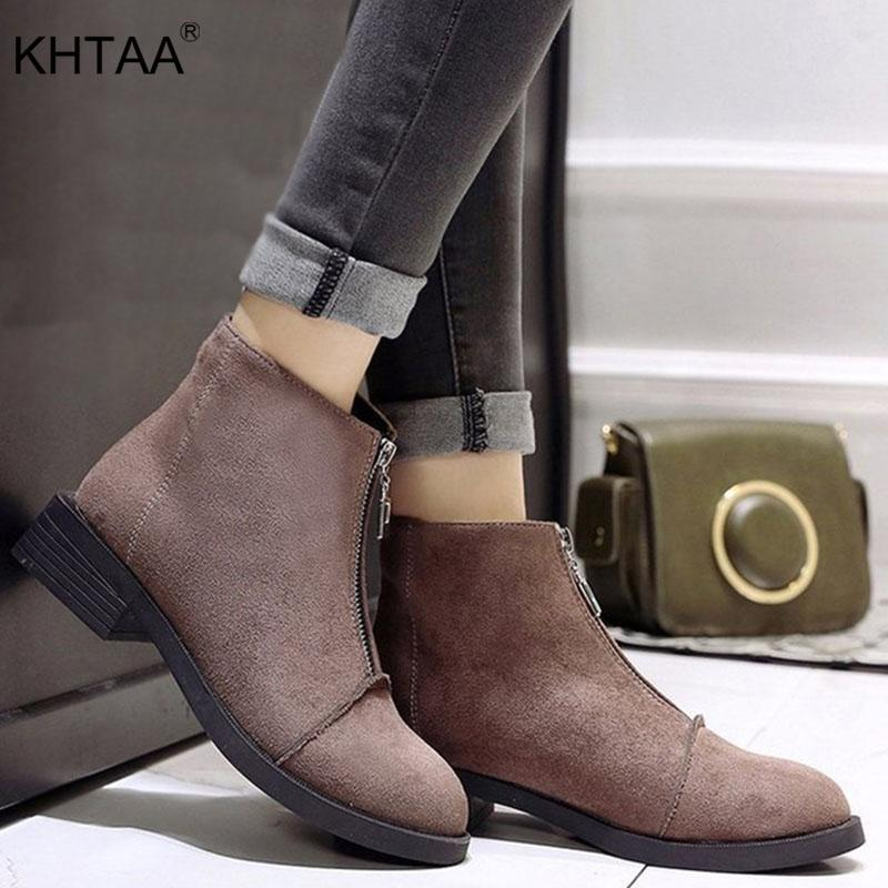 85a8fdf8b42 KHTAA New 2018 Women Autumn Zip Ankle Boots Ladies Comfort Thick Middle  Heels Female Classic Fashion Flcok Martin Shoes Boots Uk Winter Boots From  Cupbury