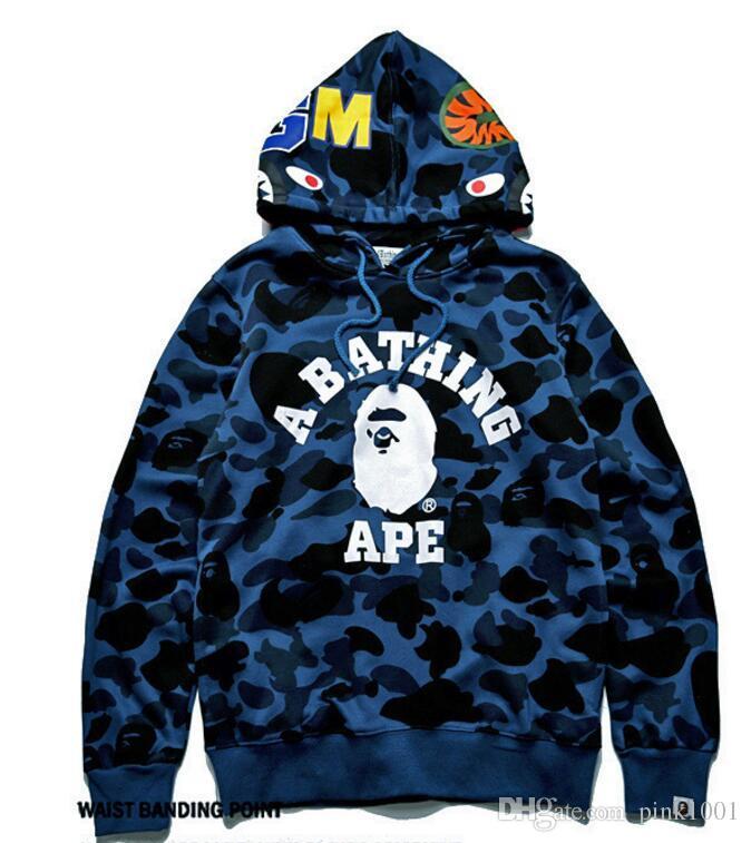 kanye west r Hoodie Herren A Bathing AAPE Ape Shark Kapuzenpullover Mantel Camo Full Zip Jacke Camouflage Hoodies