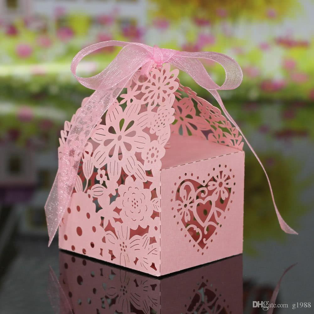 Laser Cut Delicate Carved Flower Elegant Candy Boxes with Ribbon for ...