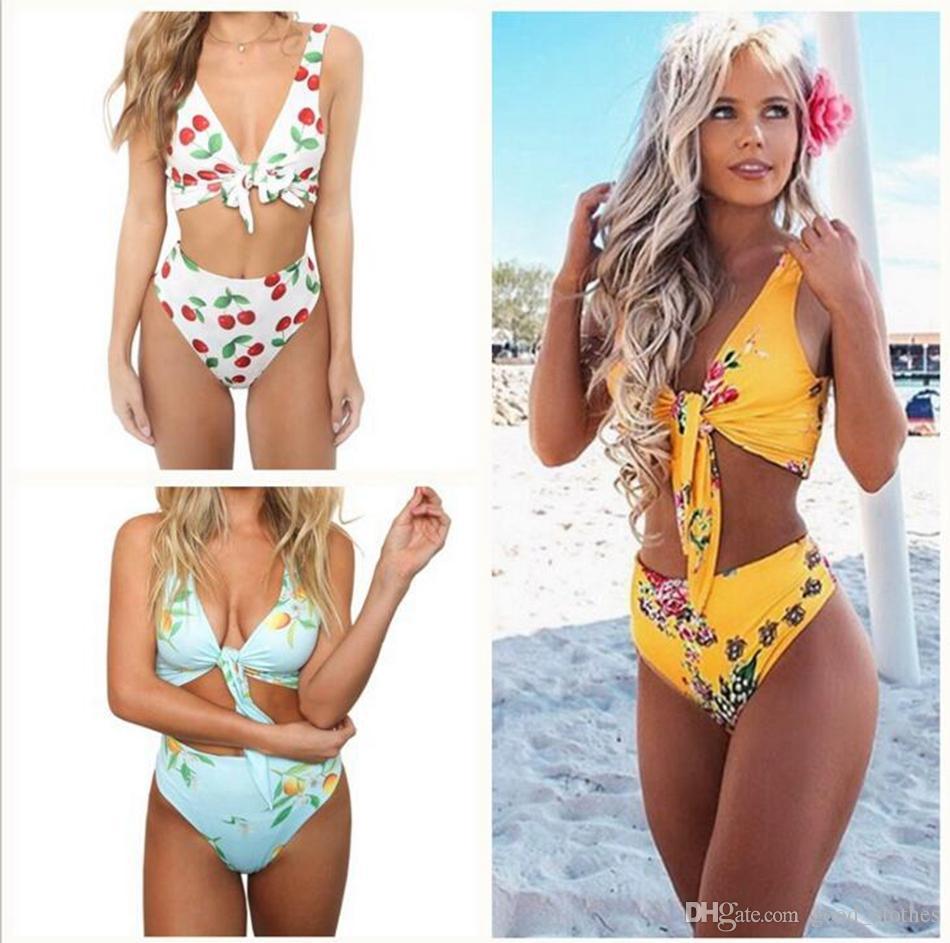 83436ee6f0d 2019 Summer Lace Up Sexy Swimsuit Cute Cherry Print Floral Two Piece Bikini  Women Skinny Bodysuit Bandage Swimsuit Beach Bathing Suit LJJO4237 From ...