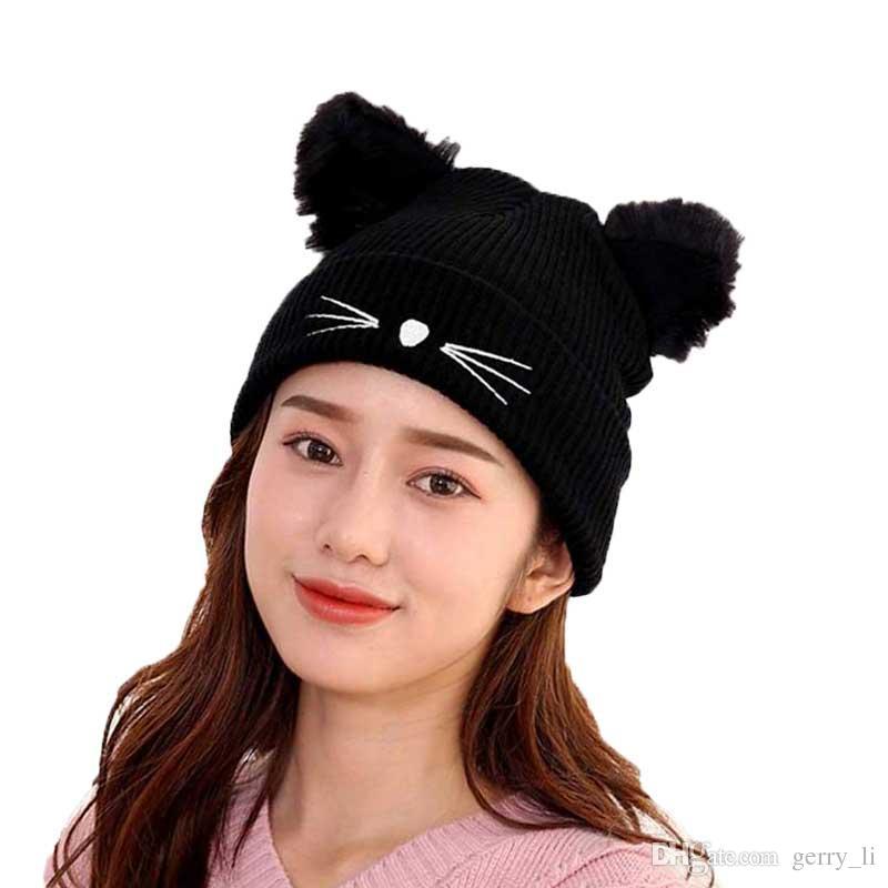 Compre moda mujer gato oreja sombrero negro de punto skullies gorros jpg  800x800 Invierno beanie gato b83978913f5