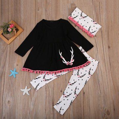 Autumn Children Girl Clothes Long Sleeve Tassel Mini Dress Tops+Deer Pant Legging Scarf Outfit Toddler Kids Clothing Set