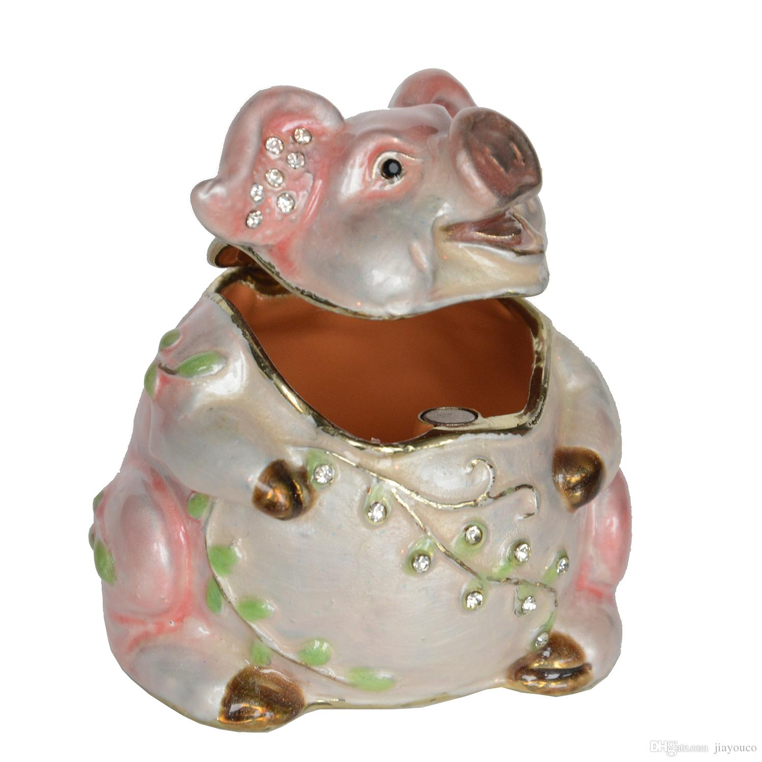Jeweled Pewter Pig Trinket Jewelry Box Creative Cute Gifts Metal Craft Collectibles Fengshui Gifts