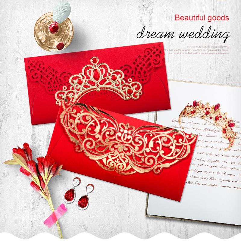 red laser cut wedding invitation envelope lace flower invitation