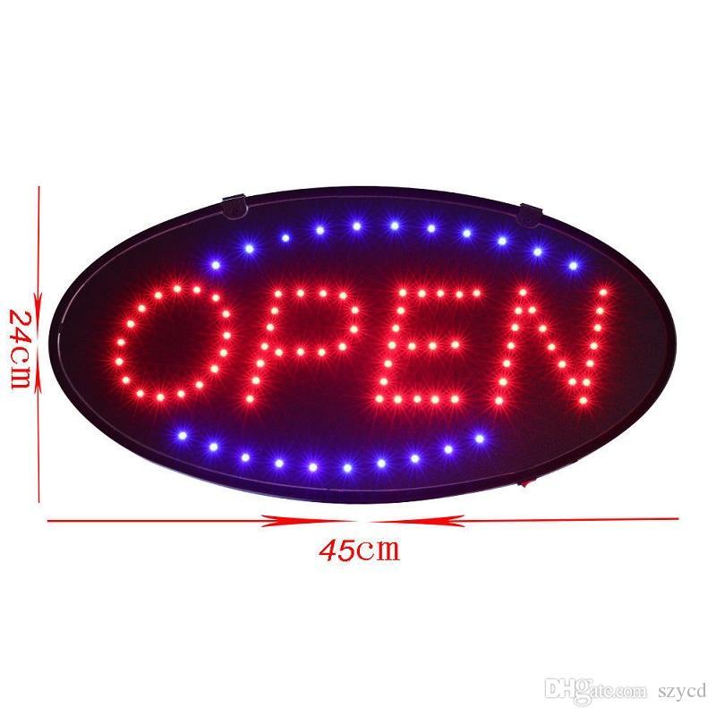 Mouvement animé de lumière au néon à DEL ultra-brillante avec fiche US ovale 10 x 19 po, signe commercial ouvert