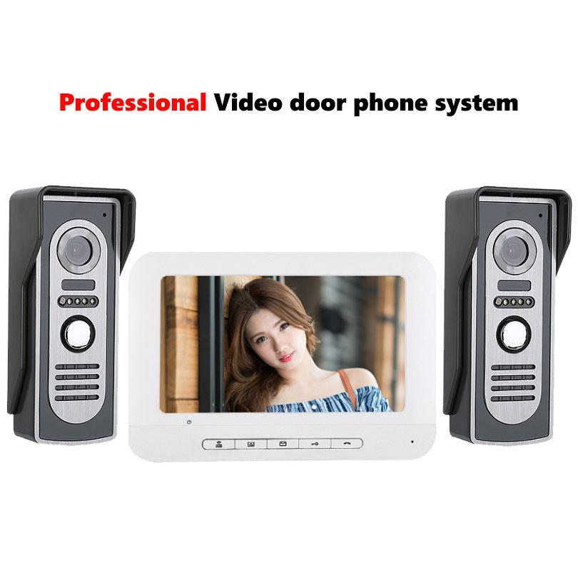 7 Inch Video Intercom System Door Phone Doorbell Kit 2 Camera Wireless With Monitor From Amocam 10453