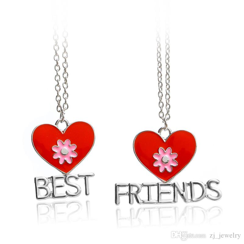 Wholesale 2psred Heart Enamel Bff Necklaces For Girls Best Friends