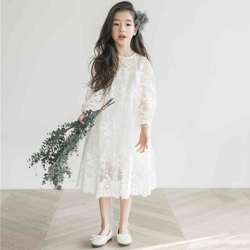 online store fd2a7 4ec21 Vestito dalla ragazza dei bambini Vestito coreano da ragazza in pizzo a  maniche lunghe Abiti corti di moda in pizzo