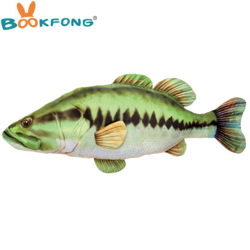 120cm Big Bass Fish Plush Toy Real Life Giant Fish Stuffed ...