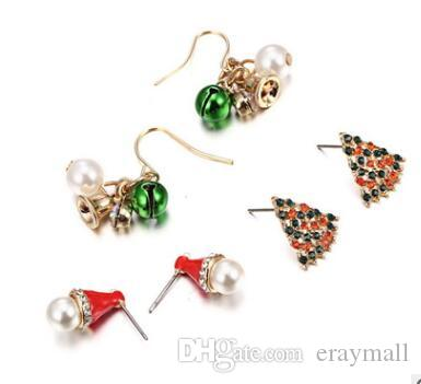3490dbcfc868a Christmas studs earrings gifts christmas tree bell stud earring pearl  crystal studs for kids adults 893