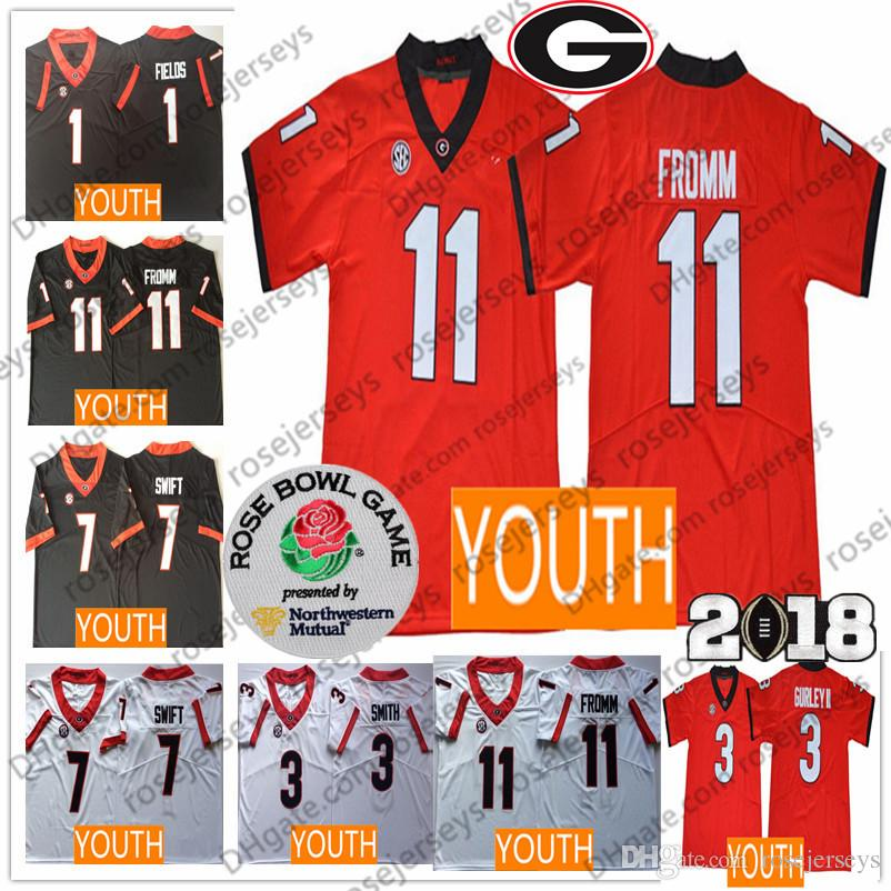 2019 Youth Georgia Bulldogs  11 Jake Fromm 7 DAndre Swift 3 Todd Gurley II  Roquan Smith Black Red White Kids UGA College Football Jerseys From  Rosejerseys b4795cebc