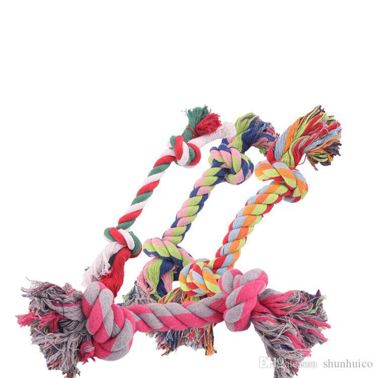 Perro de mascota Juguetes cachorro de algodón Juguete masticable Durable perro trenzado Cuerda de Hueso Herramienta Divertida 17 CM diente limpio