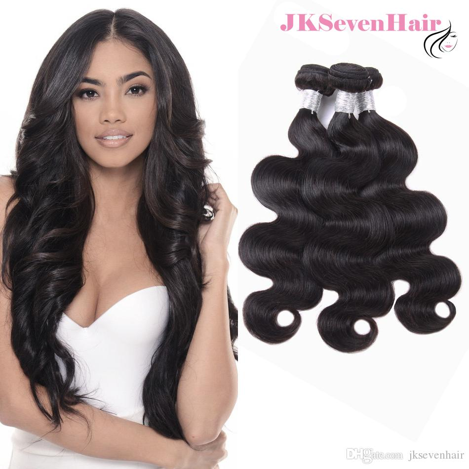 Body Wave Brazilian Vrign Hair Extensions 3 Bundles 10A Grade Peruvian Indian Malaysian Remy Hair Weaves In Natural Black Color