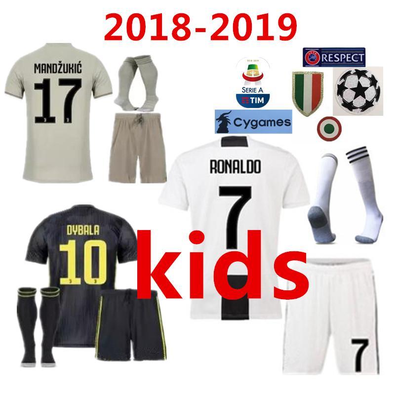 huge selection of 31774 47e76 new 2018 Juventus RONALDO DYBALA HIGUAIN kids kit soccer jersey 18 19 juve  MARCHISIO MANDZUKIC CHIELLINI BUFFON child Football Shirt uniform