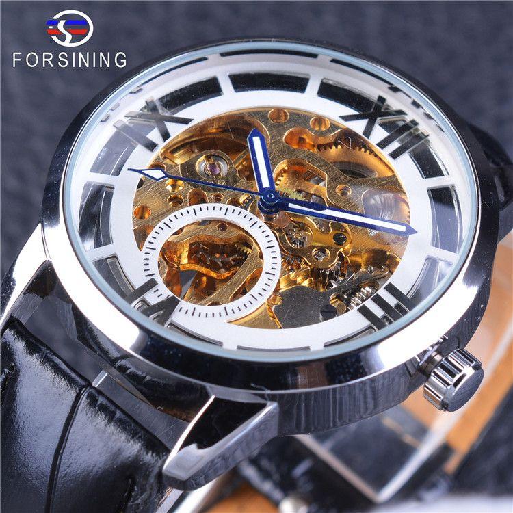 e567d35c075 Compre Forsining Branco Esqueleto De Ouro Relógio Luminoso Mãos Dos Homens  Relógio Mecânico Preto Banda Moda Top Marca De Luxo Relógio De Pulso De  Lyfgood