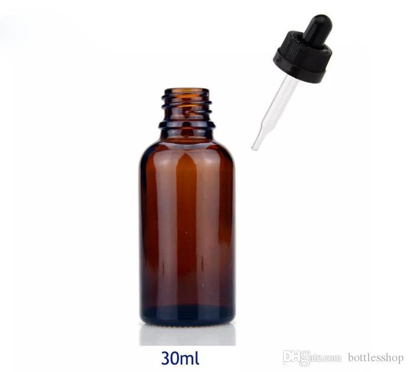 Botellas de cristal ámbar de / 30ml botella de aceite esencial del dropper de cristal de 30 ml con el casquillo a prueba de niños del dropper con precio de fábrica