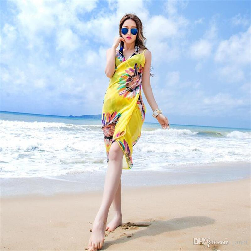 7804b56f84 2019 Women Bikini Cover Sexy Pareo Beach Dress Bohemian Sarong Chiffon  Beach Bikini Wrap Swimwear Scarf Shawl Brace From Janet