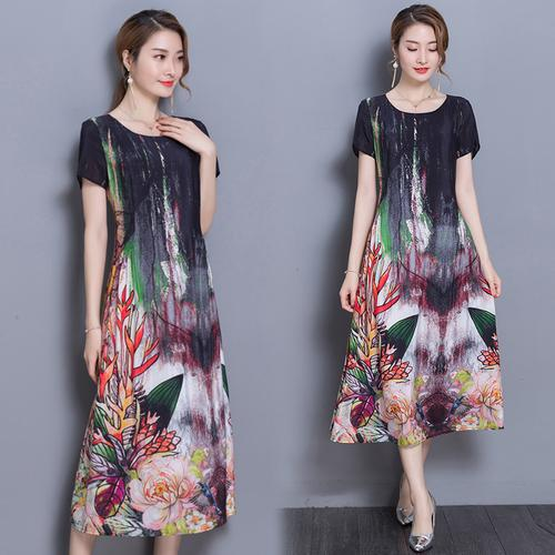 32067bc8d7a9 2019 2018 New Spring Summer Indie Folk Style Loose Printing Women Dress  Half Sleeve O Neck Casual Silk Long Dresses From Whitecloth