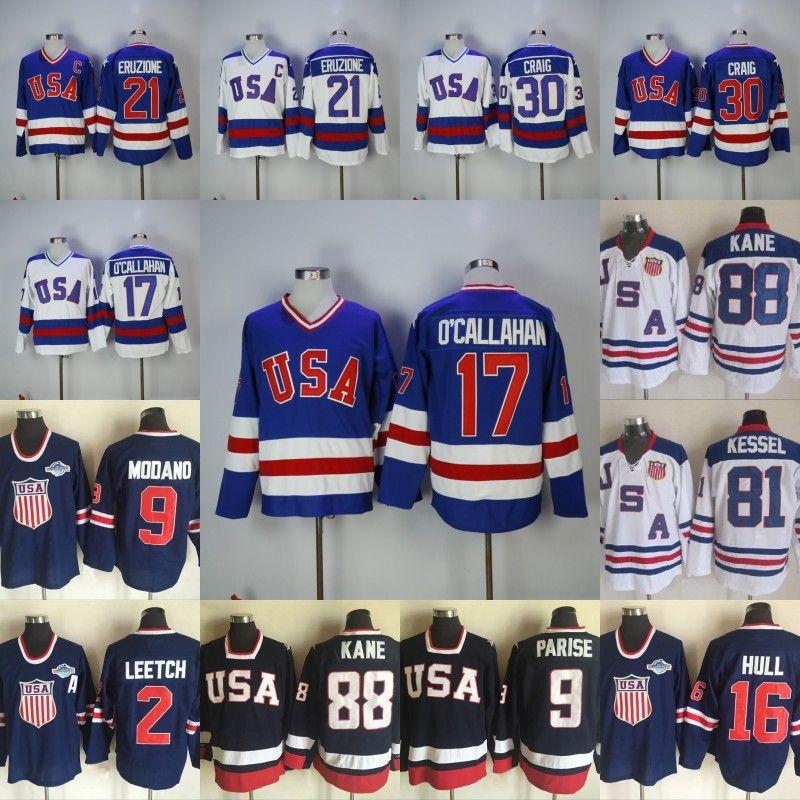 1980 Miracle On Ice Hockey Jersey 17 Jack O Callahan 21 Mike Eruzione 30  Jim Craig 88 Patrick Kane 9 Zach Parise Mens Hockey Jerseys UK 2019 From ... d72328c42
