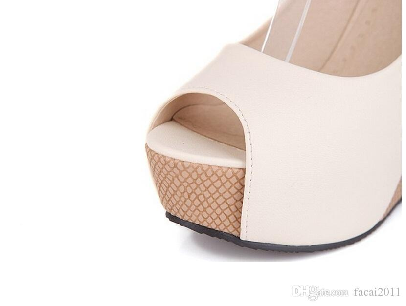 Spring 2018 New ultra-high peep-toe pumps with fish mouth wedge female female cingulate waterproof