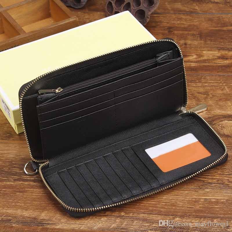 Großhandel 2018 M K berühmte Marke Mode einzigen Reißverschluss Luxus Frauen Echtes Leder Brieftasche Dame Damen Frau Günstige lange Geldbörse