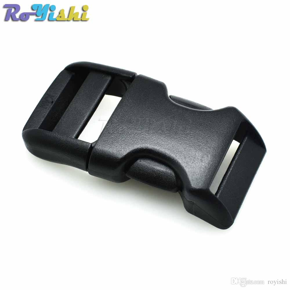 25pcs/lot 3/4''(20mm) Plastic Contoured Side Release Buckles For Paracord Survival Bracelets/Dog Collar Black