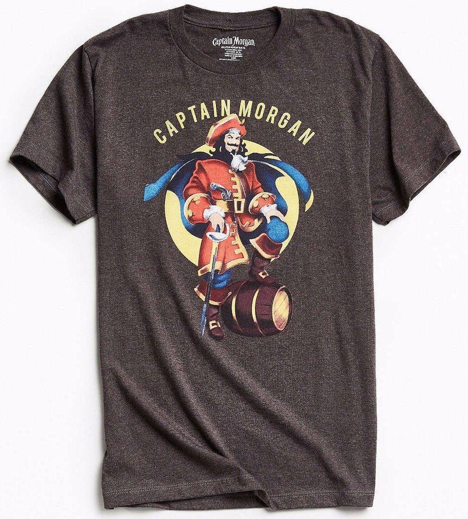 Maglietta Captain Morgan T-Shirt Charcoal Grey NWT Licensed Official