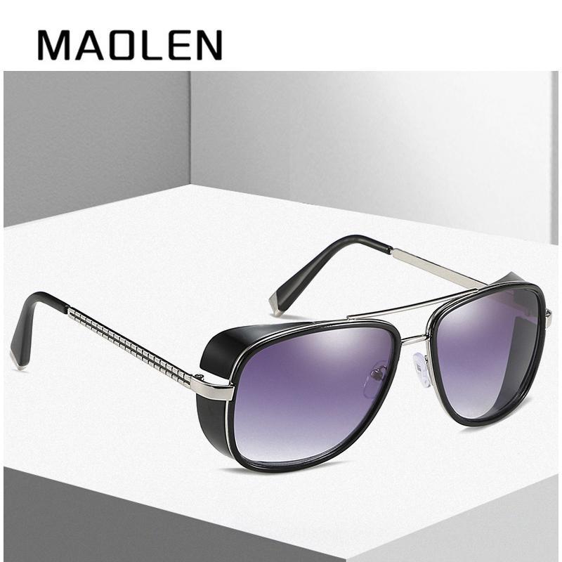 a8df9916a20b7 MAOLEN Male Steampunk Sunglasses Tony Stark Iron Man Matsuda Sunglasses  Retro Vintage Eyewear Steampunk Sun Glasses UV400 Oculos Cool Sunglasses  Custom ...