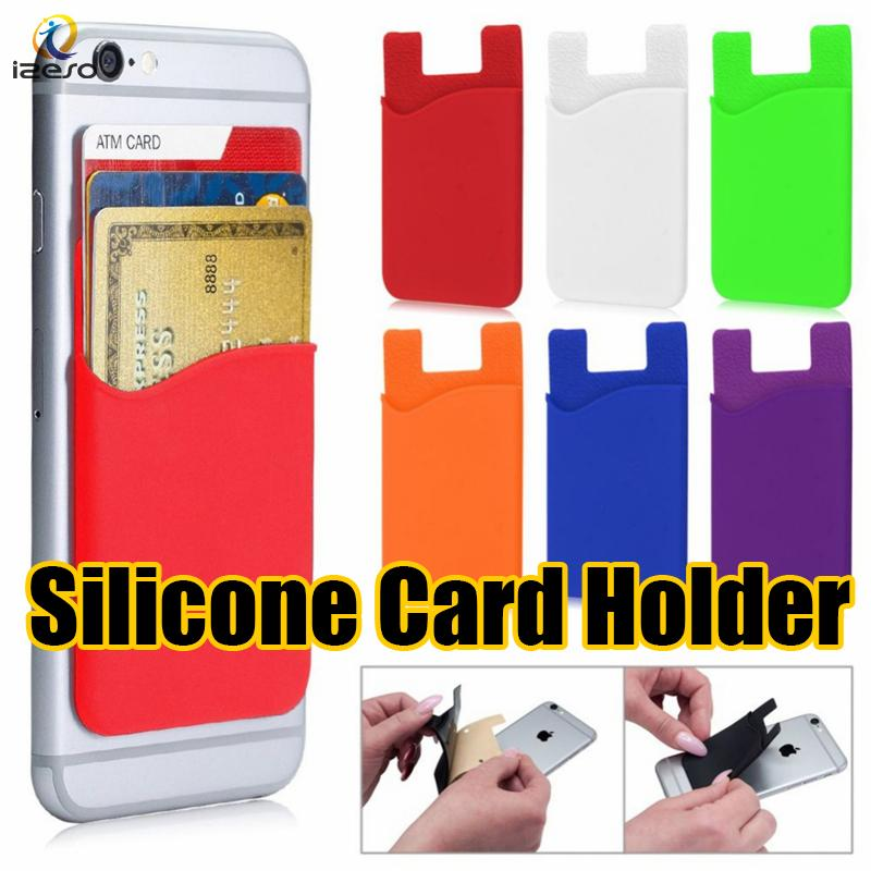 newest c1f5a bba8a Self Adhesive Credit Card Holder Colorful Silicone Rubber Card Wallet Ultra  Slim Card Set for iPhone Xs Max Xr X Sumsung LG Huawei