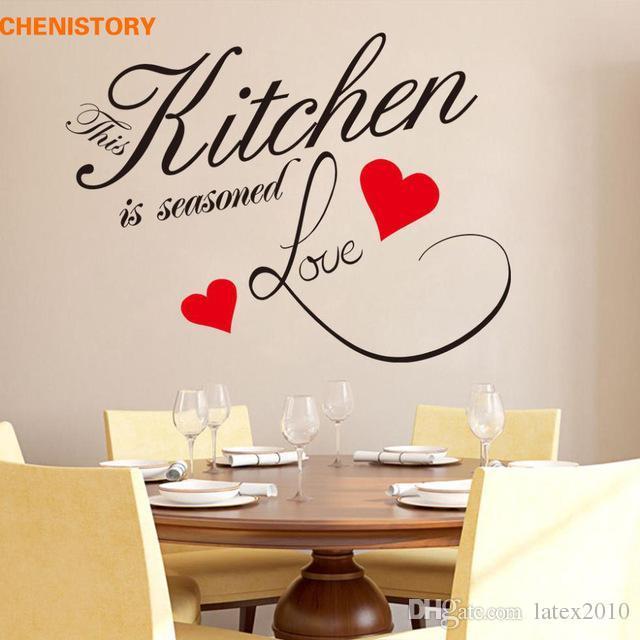 Fai da te cucina amore cuore rosso adesivo da parete ristorante rimovibile  impermeabile decalcomanie della parete del vinile per la cucina di arte ...