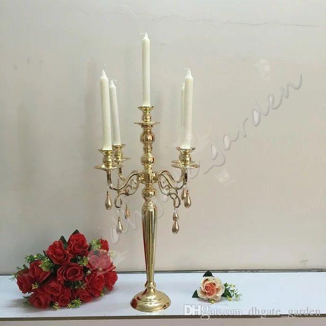 элегантный высокий свадьбы дешевые Оптовая античное золото металл 5 оружия канделябры центральные для свадебного стола decoation