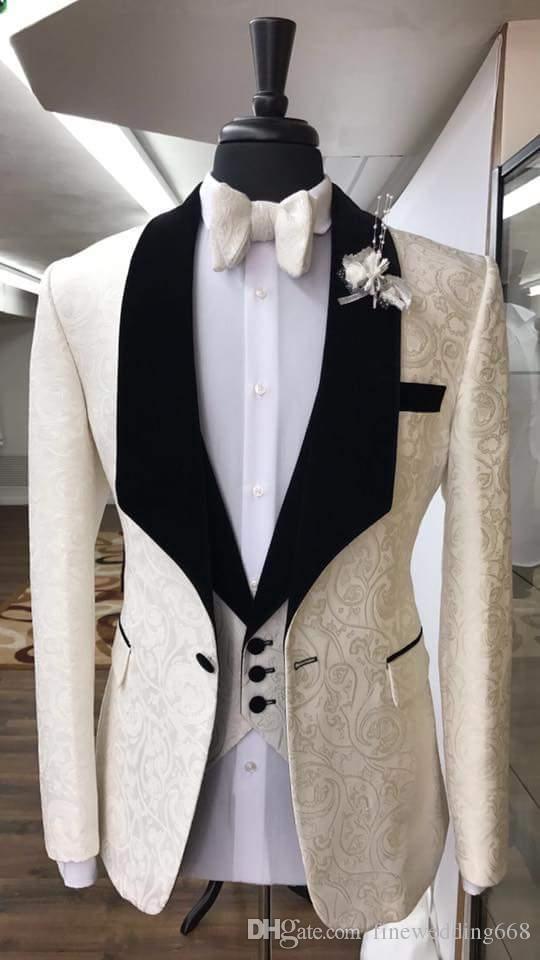 Tuxedos Groom classiques garçons d'honneur châle revers costumes slim convient le meilleur costume pour homme mariage / costumes pour hommes époux veste + pantalon + gilet + cravate NO: 79