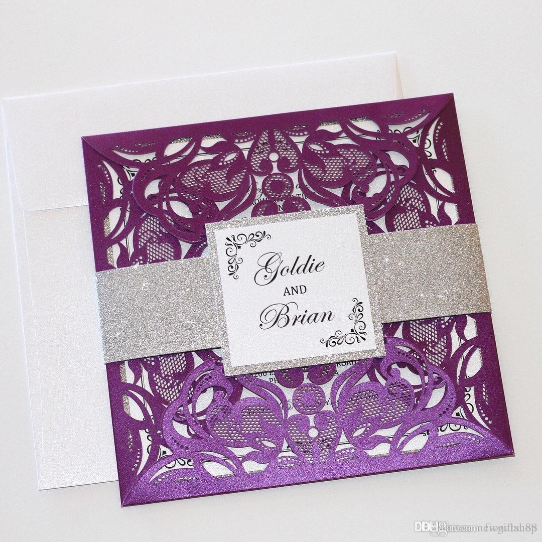 Purple Lace Wedding Invitation With Silver Glitter Belly Bands And