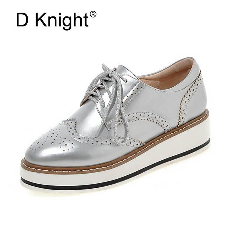 a258699bccff Women Brogue Oxfords Ladies Casual Platform Wedges Heel Shoes Woman Patent  Leather Oxford Shoes For Women Black Red Silver White Skechers Shoes Mens  Dress ...